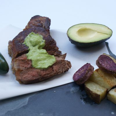 Steak with Avocado Chimichurri Sauce & Home fries (w30/paleo)