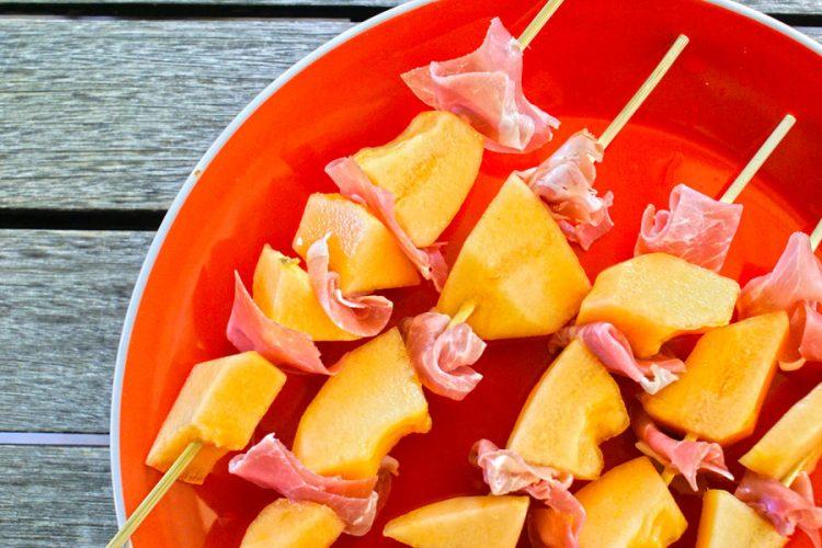 Prosciutto cantaloupe skewers